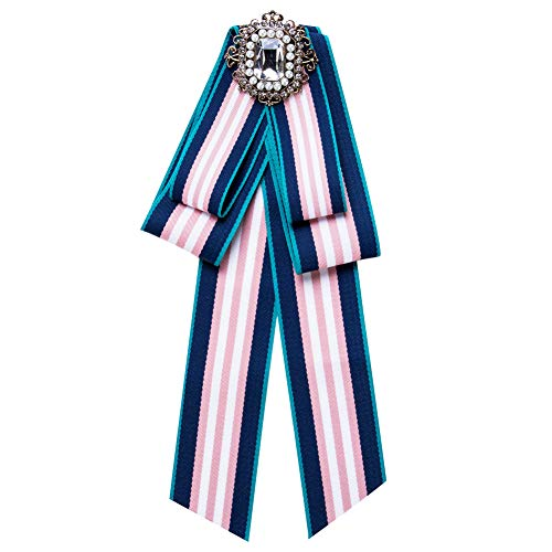 CBCJU Glasbohrer-Bogenbrosche streifte weibliches Art und Weisebrustwölbung 24 * 10cm blaues Puder