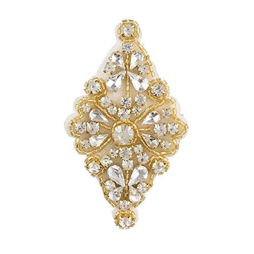 Darice David Tutera Gold, Diamond Shaped with Beading & Rhinestones Bridal Applique