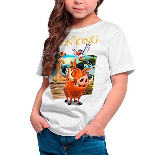 Camiseta Cine Niña - Unisex El Rey León, Timón y Pumba (Blanco, 9 años)