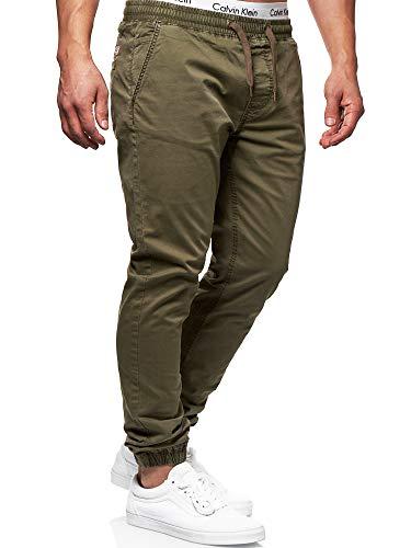 Indicode Herren Fields Stoffhose mit 4 Taschen aus 98% Baumwolle | Lange Regular Fit Stretch Hose mit Kordelzug Herrenhose Baumwollhose Männerhose Freizeithose für Männer Army XXL