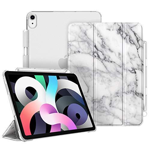 FINTIE Custodia per iPad Air 4a Generazione 10.9' 2020 con Pencil Holder [Supporta la Carica di Pencil 2nd Gen] - Sottile Leggero Semi-Trasparente Cover Case con Auto Sveglia/Sonno, Marble Bianco