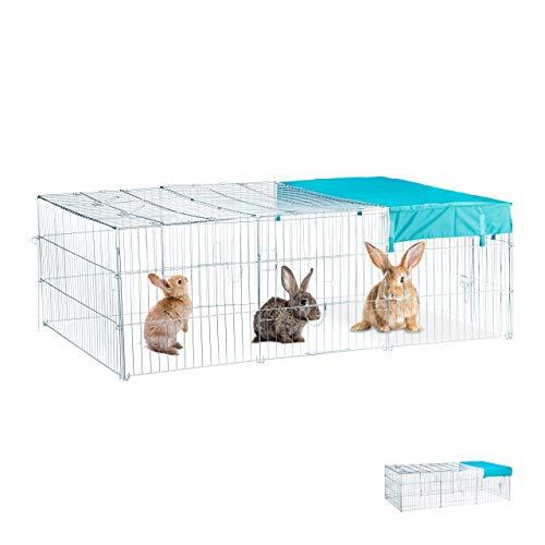 Relaxdays Freilaufgehege Kaninchen L, mit Abdeckung, Sonnensegel, großes Outdoor Freigehege, HBT 60x116x175cm, verzinkt
