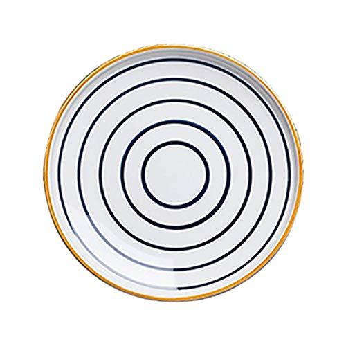 Z-Color 2 Piezas Cerámicas domésticas Cena Placa, vajilla Pintada a Mano Placa de Cena Creativa Placa de Cena de Cena de cerámica Placa de Cena Occidental Plato de Cena de bistec