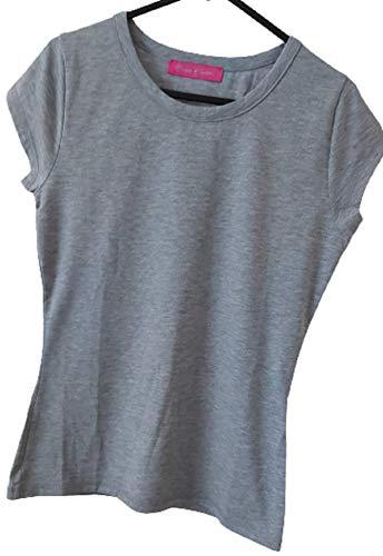 Femme Uni en coton/Lycra à manches courtes T-shirt Gris – Medium