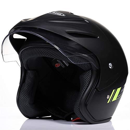 Écran solaire d'été pour homme de moto électrique quatre saisons femelle demi-casque casque de sécurité pour casque de voiture anti-buée hiver chaud H01 noir avec lentille anti-buée