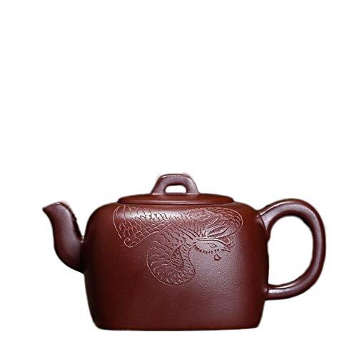 Tea Pot Old Purple Clay Teapot Elegant Four-country Handmade Carving Craftsmen Working Tea Gift Tea Maker Sand Pot (Color : Purple mud)