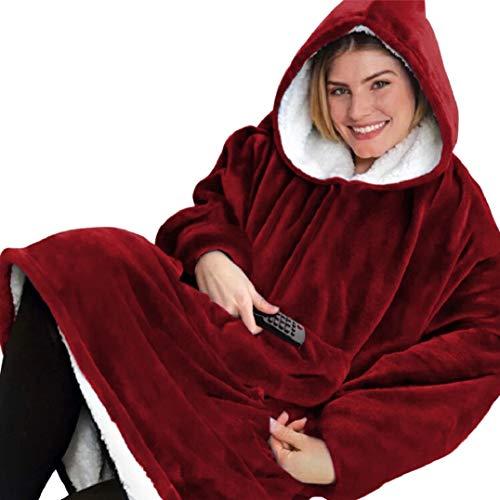 Voqeen - Manta para TV con capucha larga de forro polar y algodón polar de felpa con mangas y bolsillos, gran tamaño rojo Talla única