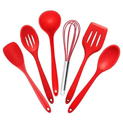 Wudhrnu 5 Or 6 Or 10 Pcs Heat-Resistant Silicone Kitchen Cooking Tools Baking Cookware Gadgets Spatula Spoon Set 6PCS Set B
