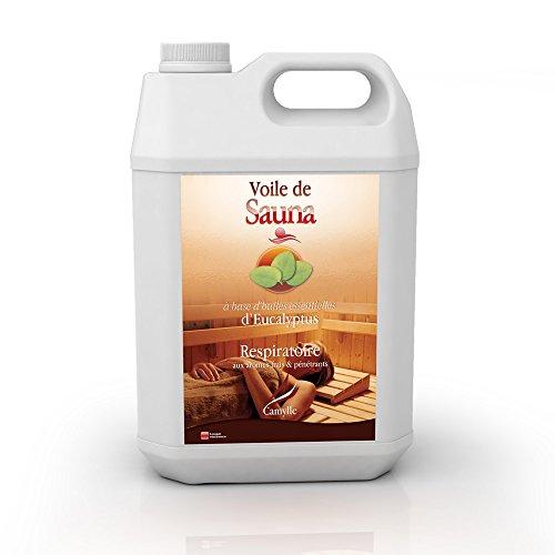 Camylle - Voile de Sauna Eucalyptus - Fragrances à base d'Huiles Essentielles 100% Pures et Naturelles pour Sauna - Respiratoire aux arômes frais et pénétrants - 5000ml