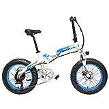 LANKELEISI X2000 20 Pulgadas Bicicleta Grasa Plegable Bicicleta Eléctrica 7 Velocidad Bicicleta de Nieve 48V 10.4Ah/14.5Ah 1000W Bicicleta de Montaña (White Blue, 14.5Ah)