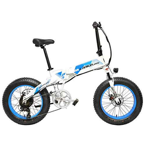 LANKELEISI X2000 20 Inch Fat Bike Folding Electric Bicycle 7 Speed Snow Bike 48V 10.4Ah/14.5Ah 500W Motor Aluminium Alloy Frame 5 PAS Mountain Bike (White Blue, 14.5Ah + 1 Spare Battery)