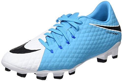 Nike Herren Hypervenom Phelon III FG 852556 104 Fußballschuhe, Elfenbein (White/Black/Photo Blue/Chlorine Blue), 40 EU