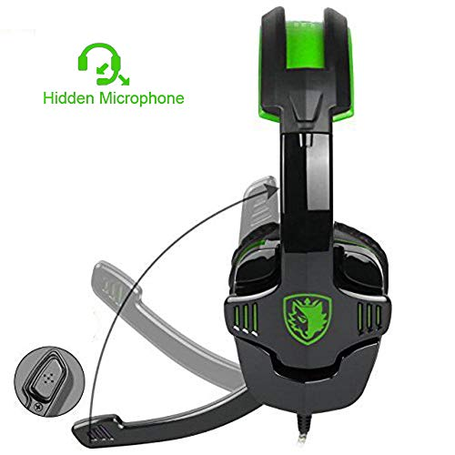 Gaming Headset 3,5-mm-Stereo-Sound, ergonomisches Design, weiche Memory-Ohrenschützer, Noise Cancelling-Mikrofon, LED-Licht, Over-Ear-Gaming-Kopfhörer für neue Xbox One/PC/Mac OS