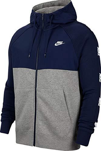 Nike Herren NSW BB Hybrid Full Zip Hoodie, Midnight Navy/Dk Grey Heather, M