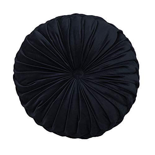 Elero Round Throw Pillow Velvet Home Decoration Pleated...