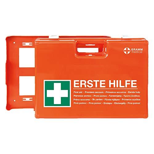 ACTIOMEDIC Mobiler und stationärer Erste-Hilfe-Kasten mit Wandhalterung zur Aufbewahrung, DOMINO DIN 13 157 I Hypoallergene Pflaster, mehrsprachig, Visuelle Hilfsmittel, orange, 28 x 12 x 20 cm
