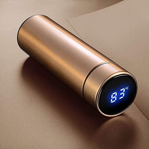 Botella de agua con pantalla LED de temperatura, termo sin BPA, doble pared aislante de temperatura taza (dorado)