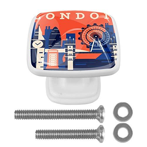 [4 unidades] Tirador de cajón de cristal con tornillos para el hogar, oficina, armario, armario, estilo abstracto retro de Londres.