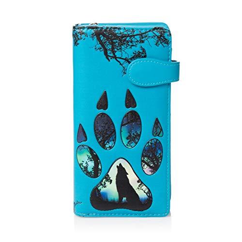 SHAGWEAR ® Portemonnaie Geldbörse Damen Geldbeutel Mädchen Bifold Mehrfarbig Portmonee Designs: (Wolfs Pfote/Wolf Paw)