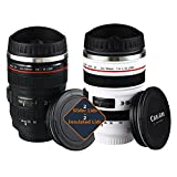 Camera Lens Coffee Mug Stainless Steel Insulated Tumbler Cup For Couples Creative Photographer Gifts (Black+White)