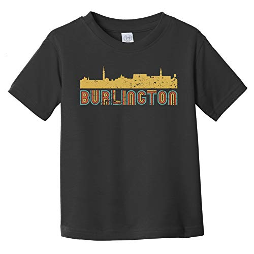 Really Awesome Shirts Retro Burlington Vermont Skyline Infant/Toddler T-Shirt, 6 Months Black