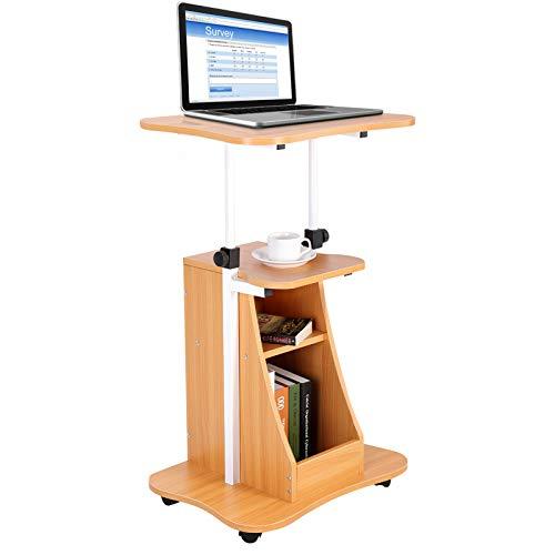 Greensen Mobile Computertisch Stehpult Höhenverstellbarer Laptoptisch Büroarbeitsplatz Stauraum Holz