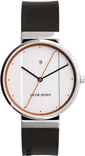 JACOB JENSEN Reloj Analógico para Unisex de Cuarzo con Correa en Caucho New Series Item NO. 755