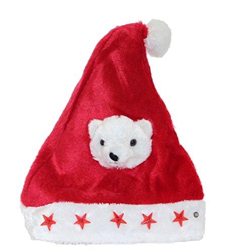Kascha Weihnachtsmütze - Plüsch Mütze mit Eisbär & 5 leuchtenden LED Sternen Rot Weiß - Nikolausmütze