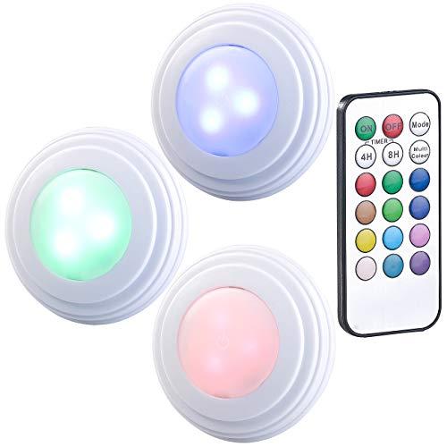 Lunartec Schrankbeleuchtung: 3er-Set RGB+W-LED-Unterbauleuchten, Fernbedienung, Timer, erweiterbar (LED kabellos Leiste)