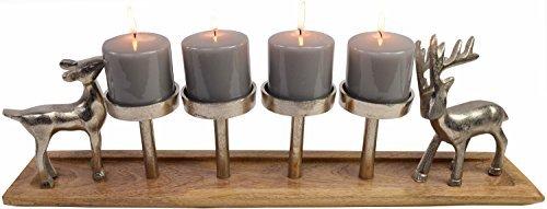 CHICCIE Advents Metall Kerzenhalter mit Rentieren aus Metall und Holz - 60cm - Adventskranz Tischdekoration Weihnachten