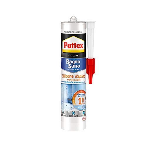 Pattex Bagno Sano Silicone Rapido, silicone trasparente sigillante ad asciugatura rapida, sigillante bagno impermeabile, sigillante antimuffa in cartuccia, 1x300ml