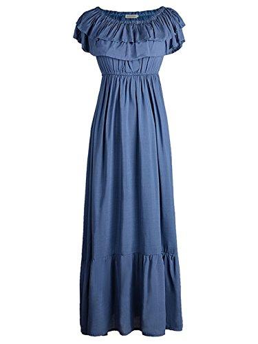 Anna-Kaci Womens Boho Peasant Ruffle Stretchy Short Sleeve Long Dress, Slate Blue, Medium