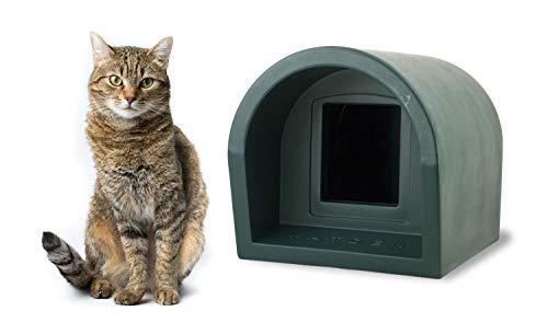 Mr Snugs Outdoor Cat Kennel House & Shelter - Dark Green Colour