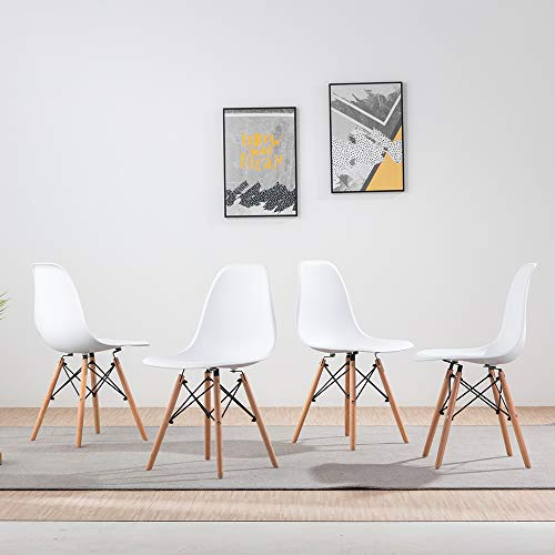Volitation White Dining Chairs Retro Side Dining Office Lounge Chair Plastic Seat with Wood Legs, One Chair (4 Chairs)