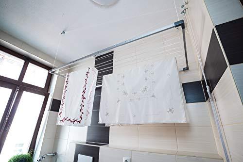 DRY-SMART Tendedero de techo extensible – Tendedero de techo – Tendedero de techo – para bañera, balcón, interior y exterior – ahorra espacio – Fácil fijación al techo 100 – 160 cm