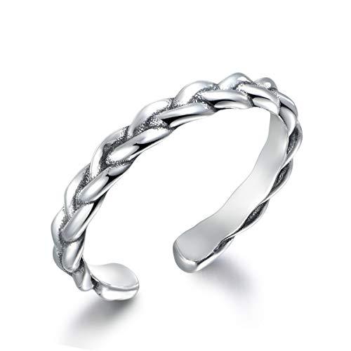 SNORSO Anillo de plata de ley ajustable apilable Midi anillo trenzado nudillo...