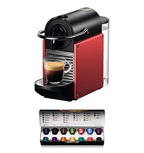 Nespresso De'Longhi Pixie EN124.R Cafetera monodosis cápsulas, 19 Bares, depósito Agua 0.7 L, Apagado automático, Rojo, Incluye pack de bienvenida con 14 cápsulas