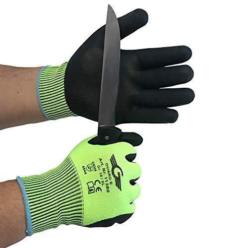 12 Paar Schnittschutzhandschuh Level 5 - Handinnenfläche und Fingerkuppen mit Nitril Beschichtung - nahtlos, Strickbund