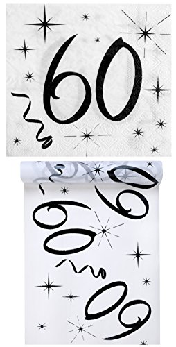 Geburtstag Set / Tischband 60 + Servietten 60 / Geburtstagsdekoration / Servietten 60 / Tischband Geburtstag