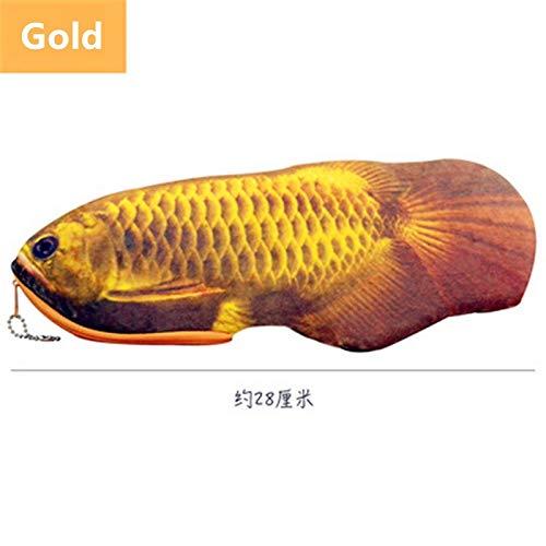 Wagrass Divertido estuche multicolor con simulaciones de vegetales y peces, para niños, estudiantes, Kawaii, suministros escolares (color: oro)