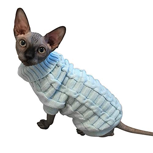 (M) - LUCKSTAR Cable Knit Turtleneck Sweater - Cats Sweater Pullover Knitted Clothes Pet Sweater for Small Dogs & Cats Kitten Kitty Chihuahua Teddy Knitwear Cold Weather Outfit