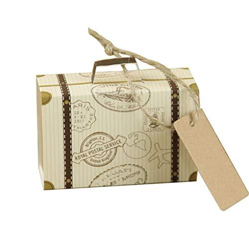 Totkakka 50 Piezas Mini Maleta Creativa Caja de Dulces de Boda Caja Rectangular fácil de Plegar