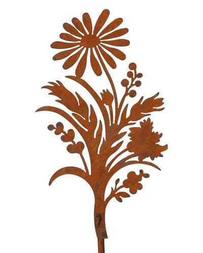 Bornhöft Gartenstecker Magerite Blumen Beetstecker Topfstecker Metall Rost Gartendeko Edelrost rostige Dekoration 155cm