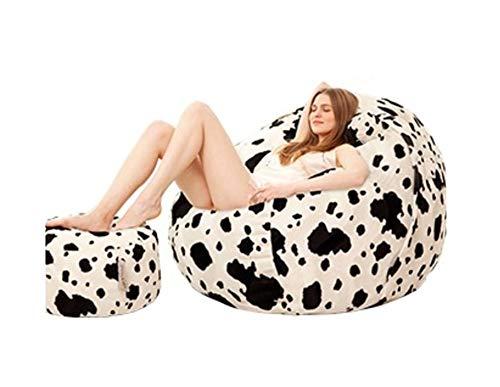 Bolsa de Frijol Tatami Multicolor de Leopardo Sencillo sofá Perezoso de la Sala de Estar Dormitorio Balcón Ocio Cómodo Reclinador Plus Reposapiés Sección Grande (Color : Cow Print, Size : M)