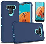 PhuLok LG K51 Case,LG K51 Phone Case,with HD Screen Protector,Heavy Duty Armor Dual Layer Shockproof Sports Anti-Scratches Non-Slip Bumper Rugged Case for LG K51 (Deep Blue/Sky Blue)