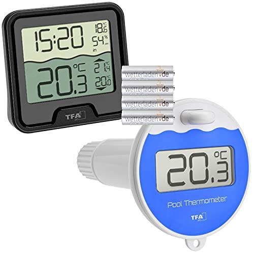 TFA Dostmann 30.3066 Funk Poolthermometer Marbella Schwimmbadthermometer (schwarz mit Batterien)