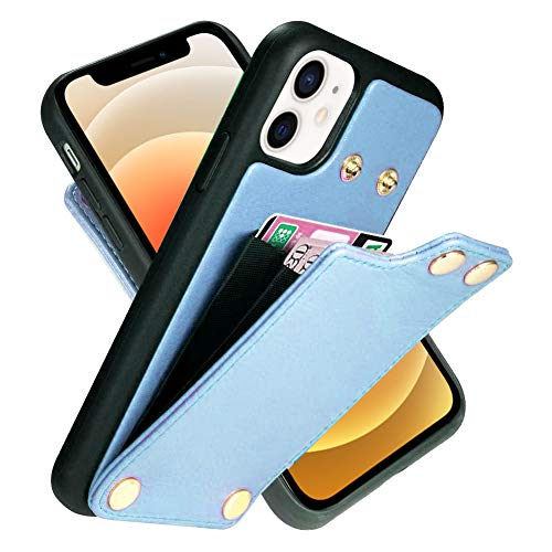 LAMEEKU Wallet Case Compatible with iPhone 12 Pro/iPhone 12, Leather Case with Card Holder Slot Shockproof Money Pocket Protective Bumper Cover Designed for iPhone 12 Pro/iPhone 12 6.1'' Light Blue