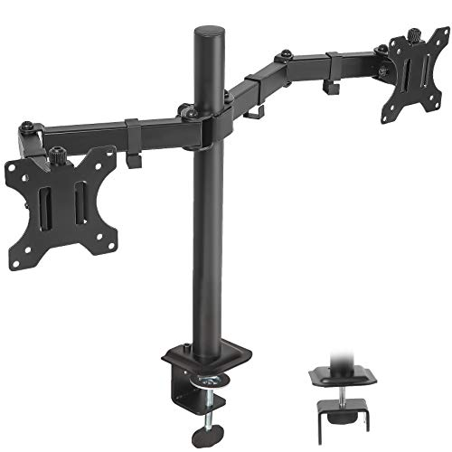 IMLIB Dual Monitor Desk Mount Stand Heavy Duty Fully Adjustable Computer Monitor Arm for 2 /Two LCD Screens up to 27 Inch with CClamp and Grommet Base