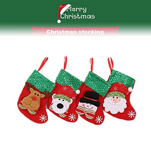 Dewlin 4 Piezas Calcetín de Navidad, Bolsa de Regalo Medias de Navidad, Calcetines Colgantes de Navidad Bolsa de Regalos y Dulces, para Árbol de Navidad, Decoración de Hogar, Jardín