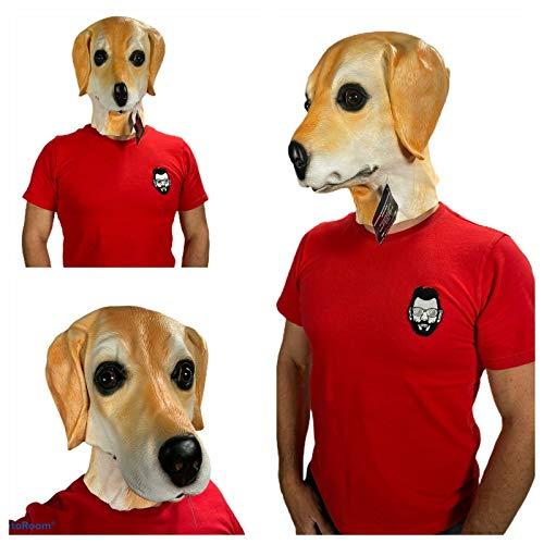 Rubber Johnnies , Masque labrador doré, masque en latex, beige, taille unique, masques d'animaux pour adultes, ferme, chien, Halloween, déguisement, canin, déguisement.